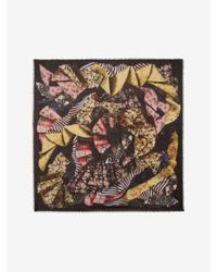 Alexander McQueen | Black Floral Ruffle Silk Chiffon Scarf | Lyst