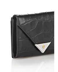 Alexander Wang - Black Exclusive Croc Embossed Prisma Envelope Compact - Lyst