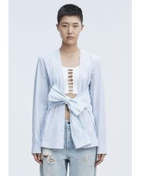 T By Alexander Wang - Blue Tie Front Shirt - Lyst