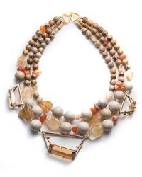 Alexis Bittar - Multicolor Triple Strand Geometric Beaded Bib Necklace - Lyst