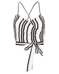 Alice + Olivia - Blue Rayna Tie Front Cross Over Tank - Lyst