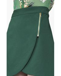Alice + Olivia - Green Lennon Side Zip Overlap Mini Skirt - Lyst