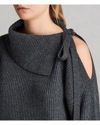 AllSaints - Gray Sura Tie Neck Jumper - Lyst