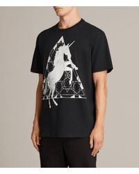 AllSaints - Black Unicorn Crew T-shirt for Men - Lyst