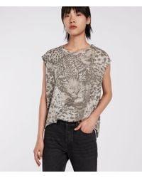 AllSaints - Gray Pardos Brooke T-shirt - Lyst