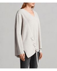 AllSaints White Able Laced Sweater
