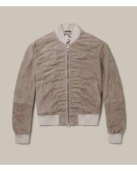 AllSaints | Natural Ari Suede Bomber Jacket | Lyst