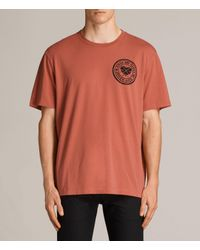 AllSaints | Red Fraternity Switch Crew T-shirt for Men | Lyst