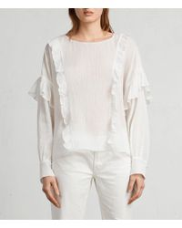 AllSaints - White Isa Top - Lyst