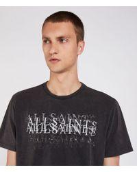 AllSaints - Black Imprinted Crew T-shirt for Men - Lyst
