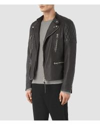 AllSaints - Gray Slade Biker Jacket for Men - Lyst