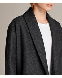 AllSaints - Gray Grace Coat - Lyst