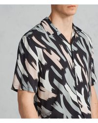 AllSaints - Black Rope Hawaiian Shirt for Men - Lyst