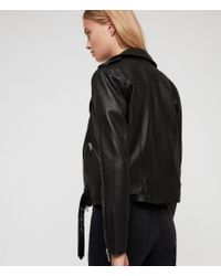 AllSaints - Black Balfern Leather Biker Jacket - Lyst