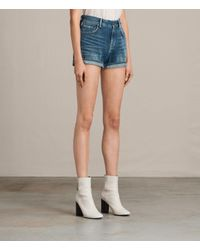 AllSaints | Blue Helena High Waist Denim Shorts | Lyst