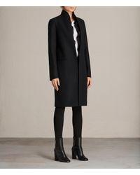 AllSaints - Black Mae Ruffle Coat - Lyst