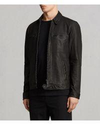 AllSaints - Black Lark Leather Jacket for Men - Lyst