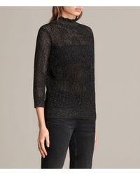 AllSaints - Black Haze Metallic Jumper - Lyst