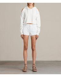 AllSaints | White Button Boy Shorts | Lyst