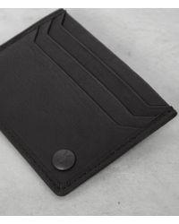 AllSaints - Black Shard Leather Cardholder for Men - Lyst