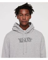 AllSaints - Gray Brackets Pullover Hoodie for Men - Lyst