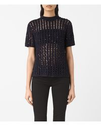 AllSaints | Blue Alyse Embellished Top | Lyst