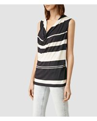 AllSaints | White Amei Stripe Top Usa Usa | Lyst