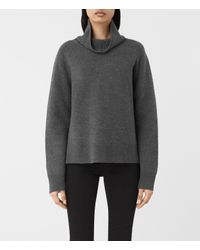 AllSaints | Gray Axa Roll Neck Sweater Usa Usa | Lyst