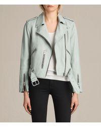 AllSaints | Blue Balfern Leather Biker Jacket | Lyst