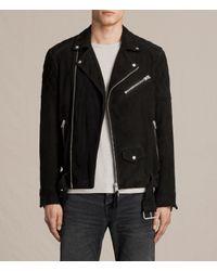 AllSaints | Black Bonson Suede Biker Jacket for Men | Lyst