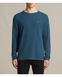 8baff218 AllSaints Clash Long Sleeve Crew T-shirt Usa Usa in Blue for Men - Lyst