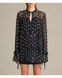 AllSaints | Black Deirdre Ruffle Shirt Usa Usa | Lyst