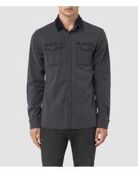 3d858472e3 Allsaints Dyce Denim Shirt in Gray for Men - Lyst