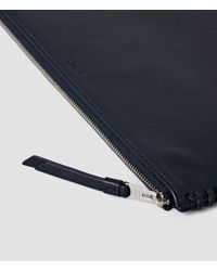 AllSaints | Blue Fleur De Lis Large Leather Pouch | Lyst