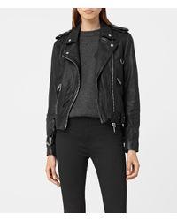 AllSaints - Black Gidley Leather Biker Jacket Usa Usa - Lyst