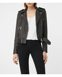 AllSaints | Gray Gidley Leather Biker Jacket | Lyst