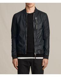 AllSaints | Gray Kino Leather Bomber Jacket for Men | Lyst