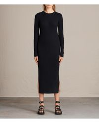 AllSaints | Blue Lavine Crew Neck Dress Usa Usa | Lyst