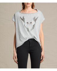 AllSaints | Gray Lovebird Pina Tee | Lyst