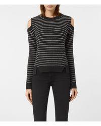 AllSaints | Black Mull Cold Shoulder Stripe Sweater | Lyst