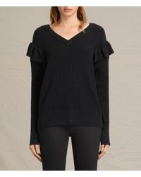 AllSaints | Black Parnell V-neck Jumper | Lyst