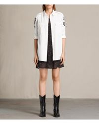AllSaints | White Patch Military Shirt | Lyst