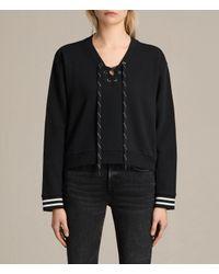 AllSaints | Black Rili Rib Sweatshirt | Lyst