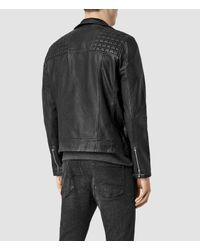 AllSaints - Black Conroy Leather Biker Jacket for Men - Lyst