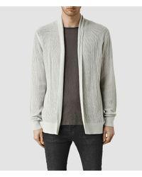 AllSaints - Gray Stein Cardigan for Men - Lyst