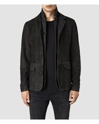 AllSaints   Gray Survey Leather Blazer for Men   Lyst
