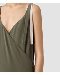 AllSaints - Green Vea Silk Dress - Lyst