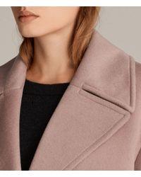 AllSaints - Pink Remi Coat - Lyst
