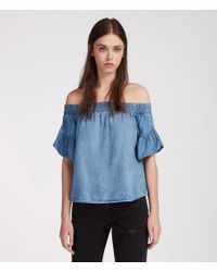 AllSaints - Blue Adela Chambray Top - Lyst