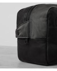 AllSaints - Gray Shoto Leather Washbag for Men - Lyst